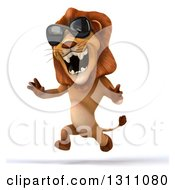 Clipart Of A 3d Male Lion Roaring Sprinting Running And Wearing Sunglasses Royalty Free Illustration