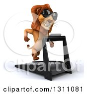 Clipart Of A 3d Male Lion Wearing Sunglasses Facing Slightly Right And Running On A Treadmill Royalty Free Illustration
