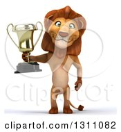 Clipart Of A 3d Male Lion Wearing Sunglasses And Holding A Trophy Royalty Free Illustration