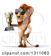 Clipart Of A 3d Male Lion Wearing Sunglasses Facing Left And Holding A Trophy Royalty Free Illustration
