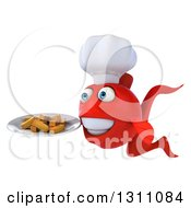 3d Red Fish Chef Facing Left And Holding A Plate Of Fries
