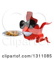 3d Red Fish Facing Slightly Left Wearing Sunglasses And Holding A Plate With French Fries