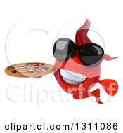 3d Red Fish Wearing Sunglasses And Holding A Pizza 2