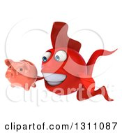 3d Red Fish Facing Left And Holding A Piggy Bank