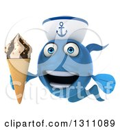 3d Happy Blue Sailor Fish Holding A Waffle Ice Cream Cone 2