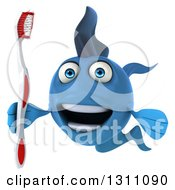 3d Blue Fish Smiling And Holding A Toothbrush 2