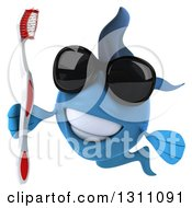 3d Blue Fish Wearing Sunglasses Smiling And Holding A Toothbrush
