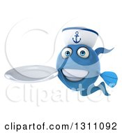 3d Happy Blue Sailor Fish Holding A Clean Plate 2