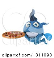 Clipart Of A 3d Blue Fish Holding A Pizza Royalty Free Illustration