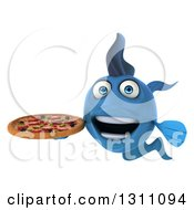3d Blue Fish Holding A Pizza 2