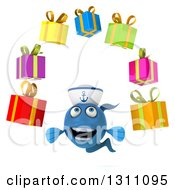 Clipart Of A 3d Happy Blue Sailor Fish Juggling Gifts Royalty Free Illustration