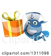 Clipart Of A 3d Happy Blue Sailor Fish Holding A Gift Royalty Free Illustration