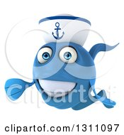 Clipart Of A 3d Happy Blue Sailor Fish Presenting Royalty Free Illustration