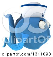 Clipart Of A 3d Sad Blue Sailor Fish Facing Right Royalty Free Illustration
