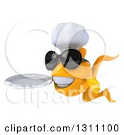 Clipart Of A 3d Happy Yellow Fish Chef Wearing Sunglasses Facing Slightly Left And Holding A Clean Plate Royalty Free Illustration