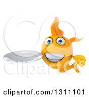 Clipart Of A 3d Goldfish Holding A Clean Plate 2 Royalty Free Illustration