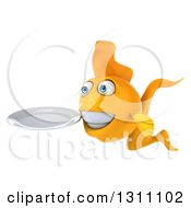 Clipart Of A 3d Goldfish Facing Slightly Left And Holding A Clean Plate Royalty Free Illustration