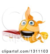 Clipart Of A 3d Goldfish Holding A Beef Steak Royalty Free Illustration