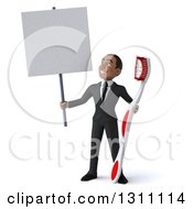 Clipart Of A 3d Happy Young Black Businessman Or Dentist Holding A Giant Toothbrush And Blank Sign Royalty Free Illustration