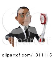 Clipart Of A 3d Unhappy Young Black Businessman Or Dentist Holding A Giant Toothbrush And Thumb Down Over A Sign Royalty Free Illustration