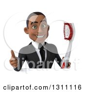 Clipart Of A 3d Happy Young Black Businessman Or Dentist Holding A Giant Toothbrush And Thumb Up Over A Sign Royalty Free Illustration