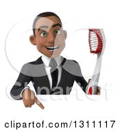 Clipart Of A 3d Happy Young Black Businessman Or Dentist Holding A Giant Toothbrush And Pointing Down Over A Sign Royalty Free Illustration