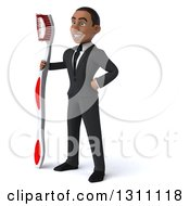 Clipart Of A 3d Happy Young Black Businessman Or Dentist Facing Slightly Left And Holding A Giant Toothbrush Royalty Free Illustration