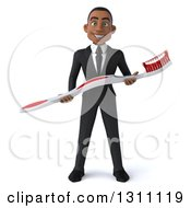 Clipart Of A 3d Happy Young Black Businessman Or Dentist Holding A Giant Toothbrush Royalty Free Illustration
