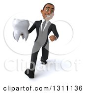 Clipart Of A 3d Happy Young Black Businessman Or Dentist Walking And Holding A Tooth Royalty Free Illustration by Julos