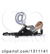 Clipart Of A 3d Happy Young Black Businessman Resting On His Side And Holding An Email Arobase At Symbol Royalty Free Illustration
