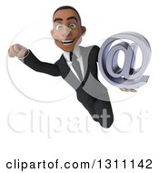 Clipart Of A 3d Happy Young Black Businessman Flying And Holding An Email Arobase At Symbol Royalty Free Illustration