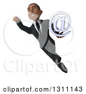 Clipart Of A 3d Happy Young Black Businessman Flying And Holding An Email Arobase At Symbol 2 Royalty Free Illustration