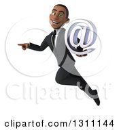 Clipart Of A 3d Happy Young Black Businessman Flying Pointing And Holding An Email Arobase At Symbol Royalty Free Illustration