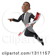 Clipart Of A 3d Happy Young Black Businessman Or Dentist Flying Pointing And Holding A Giant Toothbrush Royalty Free Illustration