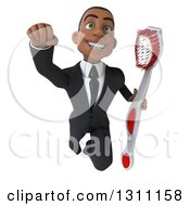 Clipart Of A 3d Happy Young Black Businessman Or Dentist Flying And Holding A Giant Toothbrush Royalty Free Illustration