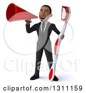 Clipart Of A 3d Happy Young Black Businessman Or Dentist Holding A Giant Toothbrush And Announcing With A Megaphone Royalty Free Illustration