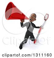 Clipart Of A 3d Happy Young Black Businessman Or Dentist Holding A Giant Toothbrush And Announcing Upwards With A Megaphone Royalty Free Illustration