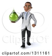 Clipart Of A 3d Young Black Male Naturopathic Doctor Walking And Holding A Green Medicine Or Tincture Drop Royalty Free Illustration