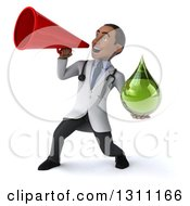 Clipart Of A 3d Young Black Male Naturopathic Doctor Holding A Green Medicine Or Tincture Drop And Announcing With A Megaphone 2 Royalty Free Illustration