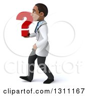 Clipart Of A 3d Young Black Male Doctor Walking To The Left And Holding A Question Mark Royalty Free Illustration
