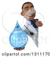 Clipart Of A 3d Young Black Male Doctor Holding A Water Drop Around A Sign Royalty Free Illustration