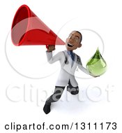 Clipart Of A 3d Young Black Male Naturopathic Doctor Holding A Green Medicine Or Tincture Drop And Announcing With A Megaphone 3 Royalty Free Illustration