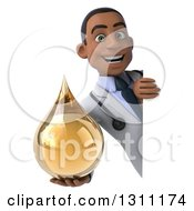 Clipart Of A 3d Young Black Male Naturopathic Doctor Holding An Amber Medicine Or Tincture Drop Around A Sign Royalty Free Illustration