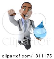 Clipart Of A 3d Young Black Male Doctor Flying Forward And Holding A Water Drop Royalty Free Illustration
