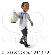Clipart Of A 3d Young Black Male Doctor Walking To The Right And Holding A Lotion Soap Or Milk Drop Royalty Free Illustration