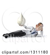 Clipart Of A 3d Young Black Male Doctor Resting On His Side And Holding A Lotion Soap Or Milk Drop Royalty Free Illustration