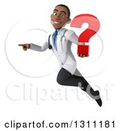Clipart Of A 3d Young Black Male Doctor Flying Pointing And Holding A Question Mark Royalty Free Illustration