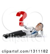 Clipart Of A 3d Young Black Male Doctor Resting On His Side And Holding A Question Mark Royalty Free Illustration