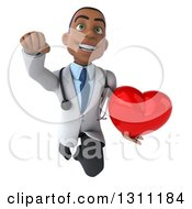 Clipart Of A 3d Young Black Male Doctor Flying And Holding A Heart Royalty Free Illustration