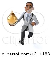 Clipart Of A 3d Young Black Male Naturopathic Doctor Sprinting And Holding An Amber Medicine Or Tincture Drop Royalty Free Illustration